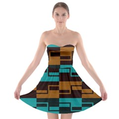 Fabric Textile Texture Gold Aqua Strapless Bra Top Dress