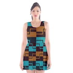 Fabric Textile Texture Gold Aqua Scoop Neck Skater Dress