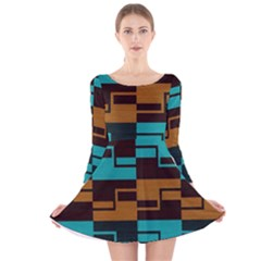 Fabric Textile Texture Gold Aqua Long Sleeve Velvet Skater Dress