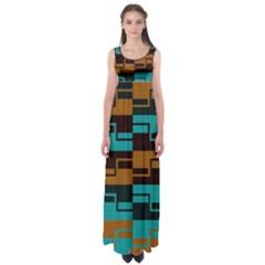 Fabric Textile Texture Gold Aqua Empire Waist Maxi Dress