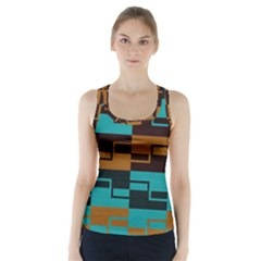 Fabric Textile Texture Gold Aqua Racer Back Sports Top
