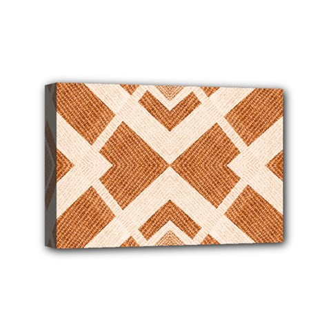Fabric Textile Tan Beige Geometric Mini Canvas 6  x 4
