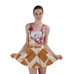 Fabric Textile Tan Beige Geometric Mini Skirt