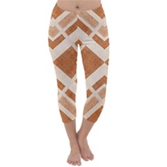 Fabric Textile Tan Beige Geometric Capri Winter Leggings