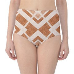 Fabric Textile Tan Beige Geometric High Waist Bikini Bottoms