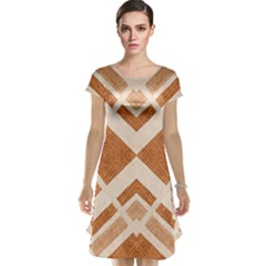 Fabric Textile Tan Beige Geometric Cap Sleeve Nightdress