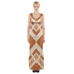 Fabric Textile Tan Beige Geometric Maxi Thigh Split Dress
