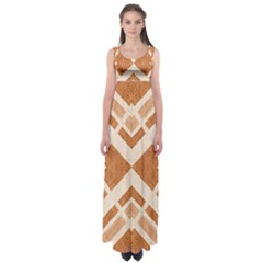 Fabric Textile Tan Beige Geometric Empire Waist Maxi Dress