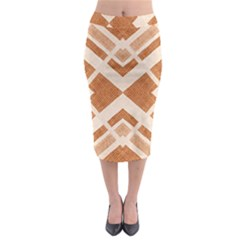 Fabric Textile Tan Beige Geometric Midi Pencil Skirt