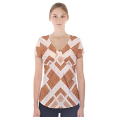 Fabric Textile Tan Beige Geometric Short Sleeve Front Detail Top