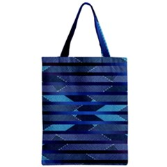 Fabric Texture Alternate Direction Zipper Classic Tote Bag