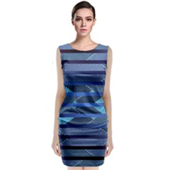 Fabric Texture Alternate Direction Classic Sleeveless Midi Dress