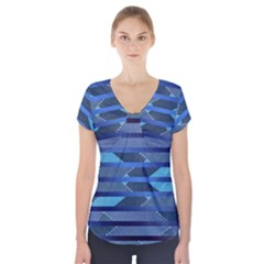 Fabric Texture Alternate Direction Short Sleeve Front Detail Top