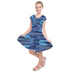 Fabric Texture Alternate Direction Kids  Short Sleeve Dress