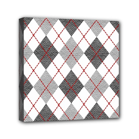Fabric Texture Argyle Design Grey Mini Canvas 6  x 6