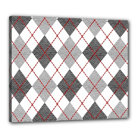 Fabric Texture Argyle Design Grey Canvas 24  x 20