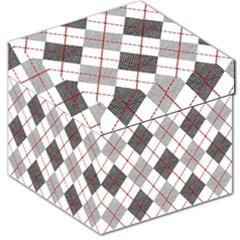 Fabric Texture Argyle Design Grey Storage Stool 12