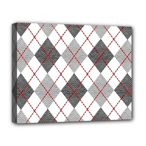 Fabric Texture Argyle Design Grey Deluxe Canvas 20  X 16