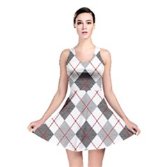 Fabric Texture Argyle Design Grey Reversible Skater Dress