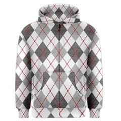 Fabric Texture Argyle Design Grey Men s Zipper Hoodie