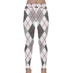 Fabric Texture Argyle Design Grey Classic Yoga Leggings