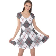 Fabric Texture Argyle Design Grey Cap Sleeve Dresses