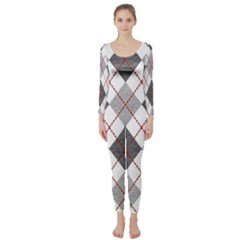 Fabric Texture Argyle Design Grey Long Sleeve Catsuit