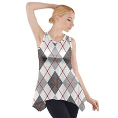 Fabric Texture Argyle Design Grey Side Drop Tank Tunic