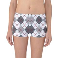 Fabric Texture Argyle Design Grey Reversible Bikini Bottoms