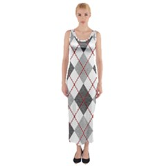 Fabric Texture Argyle Design Grey Fitted Maxi Dress