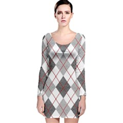 Fabric Texture Argyle Design Grey Long Sleeve Velvet Bodycon Dress