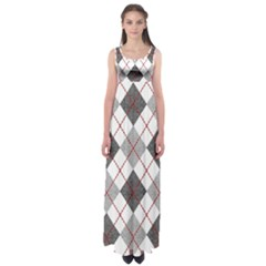 Fabric Texture Argyle Design Grey Empire Waist Maxi Dress