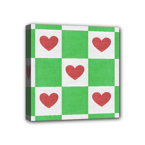 Fabric Texture Hearts Checkerboard Mini Canvas 4  x 4