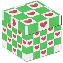 Fabric Texture Hearts Checkerboard Storage Stool 12