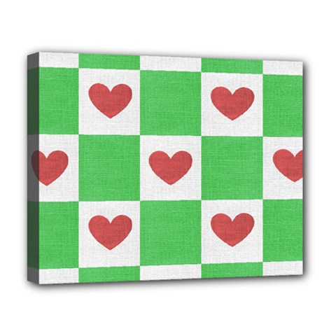 Fabric Texture Hearts Checkerboard Deluxe Canvas 20  x 16