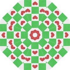 Fabric Texture Hearts Checkerboard Hook Handle Umbrellas (large)