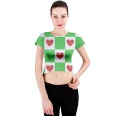 Fabric Texture Hearts Checkerboard Crew Neck Crop Top
