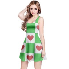 Fabric Texture Hearts Checkerboard Reversible Sleeveless Dress