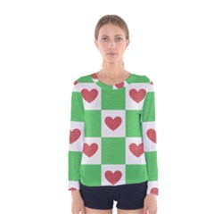 Fabric Texture Hearts Checkerboard Women s Long Sleeve Tee