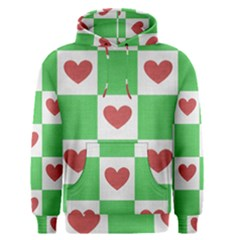 Fabric Texture Hearts Checkerboard Men s Pullover Hoodie