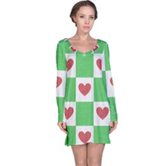 Fabric Texture Hearts Checkerboard Long Sleeve Nightdress