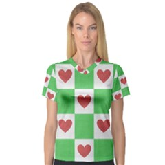 Fabric Texture Hearts Checkerboard Women s V Neck Sport Mesh Tee