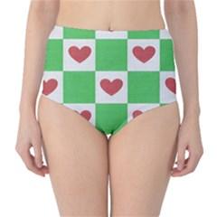 Fabric Texture Hearts Checkerboard High-Waist Bikini Bottoms