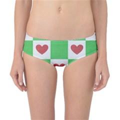 Fabric Texture Hearts Checkerboard Classic Bikini Bottoms