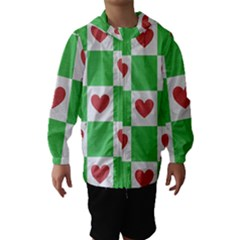 Fabric Texture Hearts Checkerboard Hooded Wind Breaker (Kids)