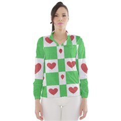 Fabric Texture Hearts Checkerboard Wind Breaker (women)