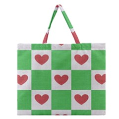 Fabric Texture Hearts Checkerboard Zipper Large Tote Bag