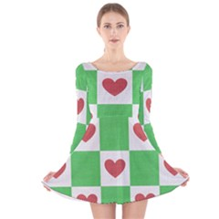 Fabric Texture Hearts Checkerboard Long Sleeve Velvet Skater Dress