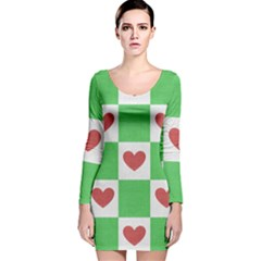 Fabric Texture Hearts Checkerboard Long Sleeve Velvet Bodycon Dress