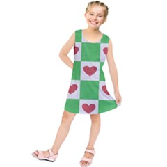 Fabric Texture Hearts Checkerboard Kids  Tunic Dress